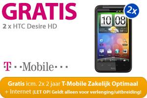 2x 2 jaar T-Mobile Zakelijk Optimaal + Internet i.c.m. 2x HTC Desire HD Gratis